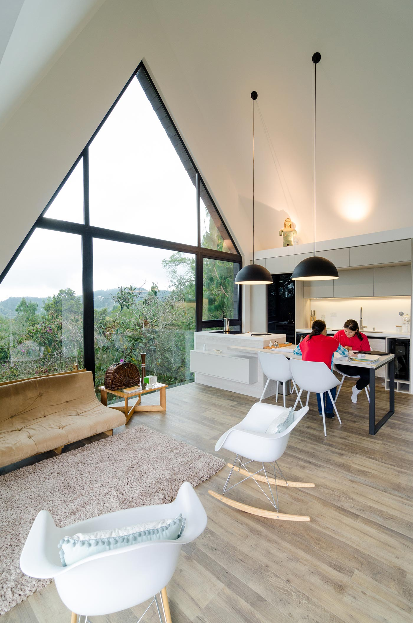 Living room and kitche in a modern open plan interior