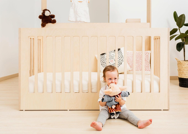 Wooden baby crib