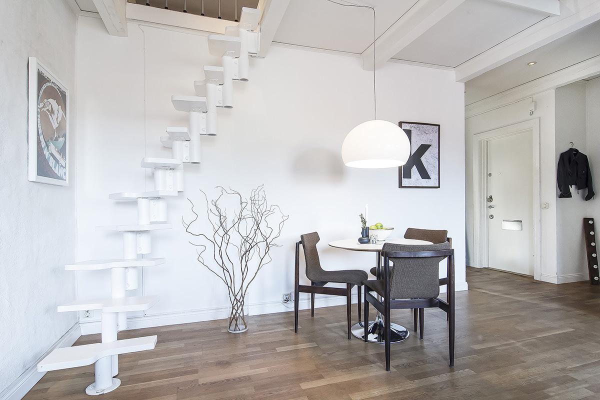 White metal staircase