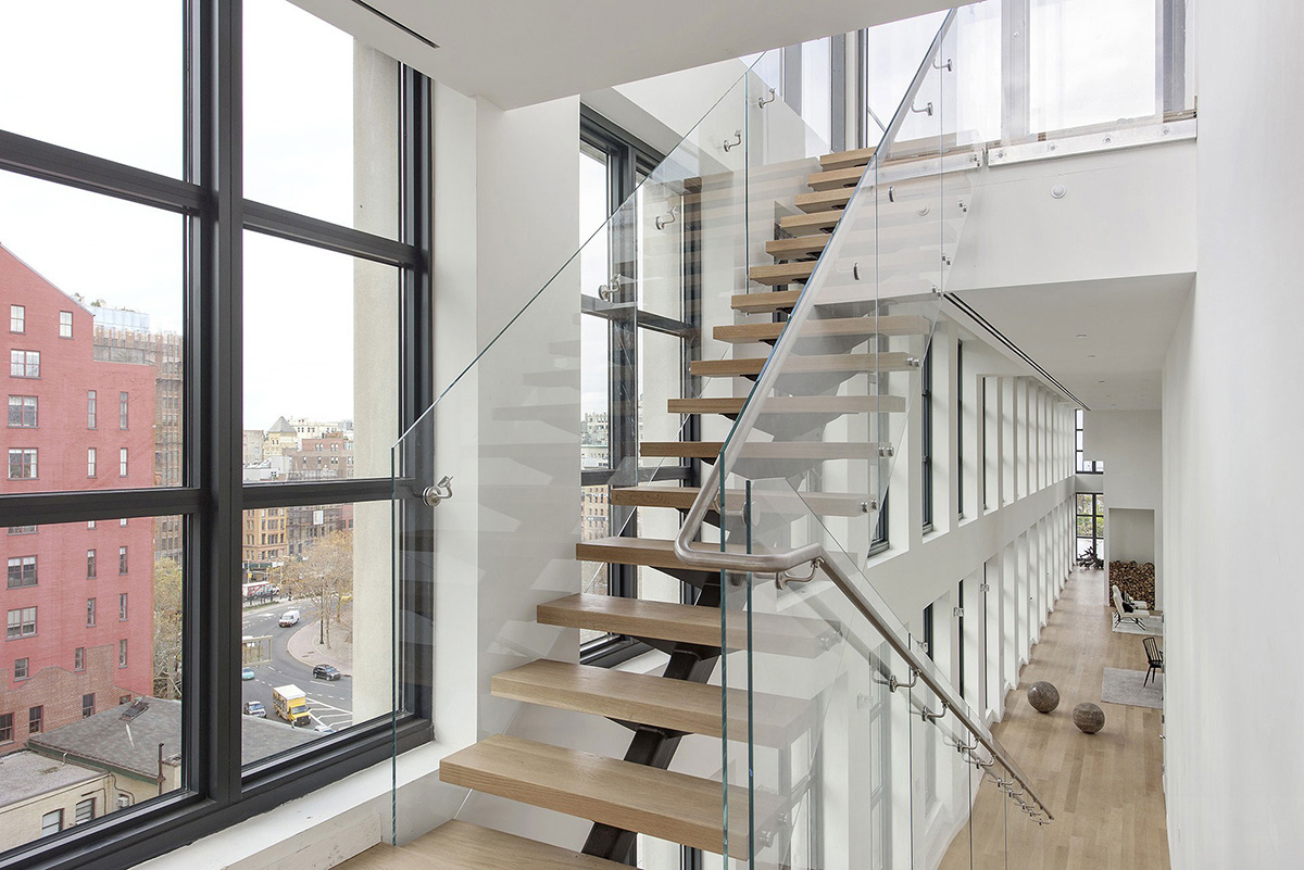 Modern glass and wood staircase