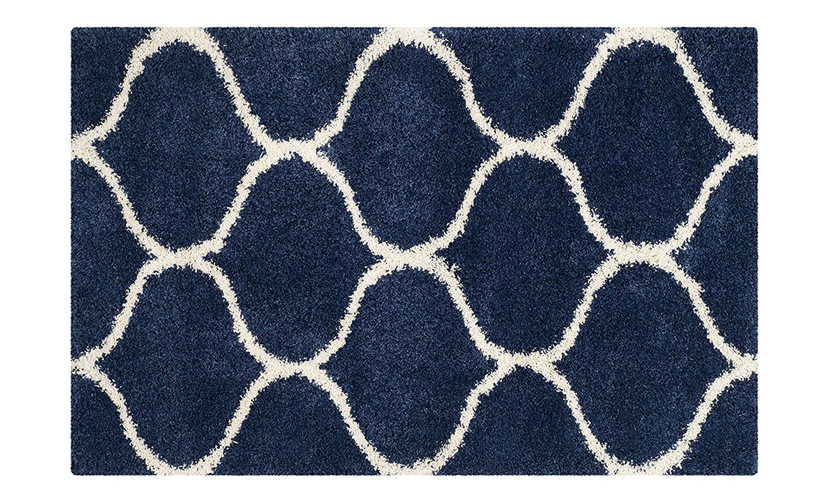 Navy and ivory area rug