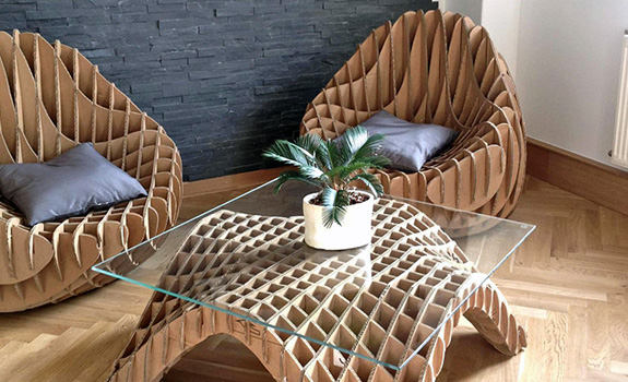 Unique Furniture Made Of Recycled Cardboard Adorable Home
