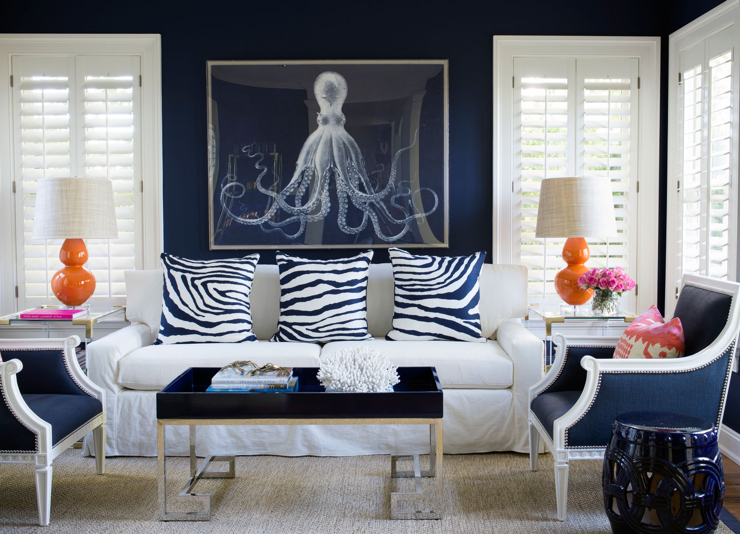 Navy Blue And White Living Room