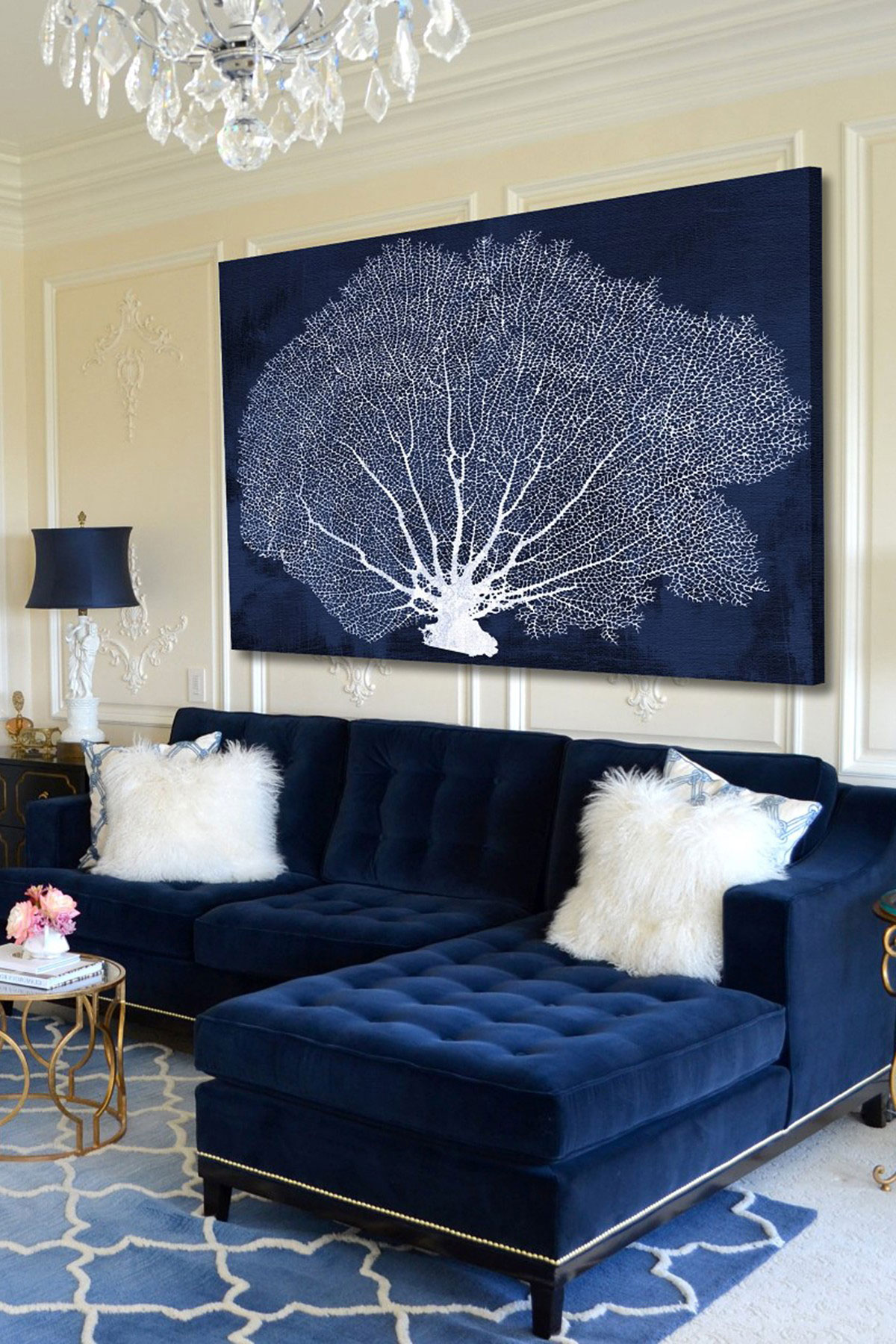 Superior Navy Blue Living Room Design