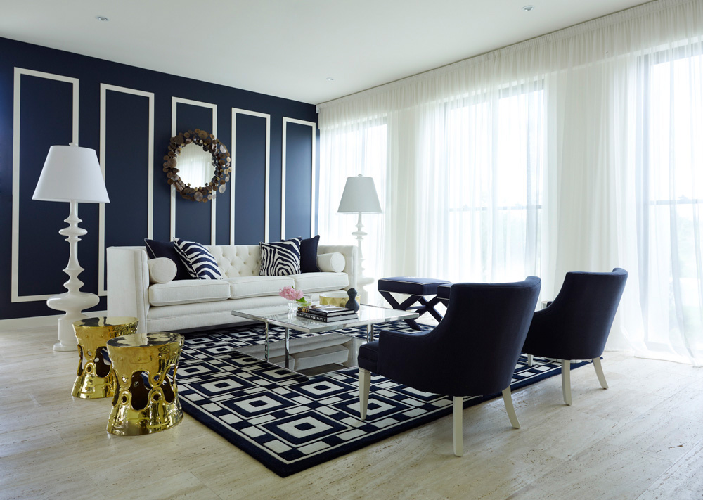 Marvelous Stylish Navy Blue Living Room