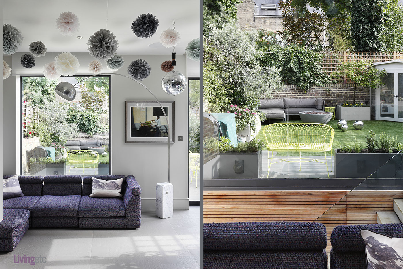 Modern interior with purple touches