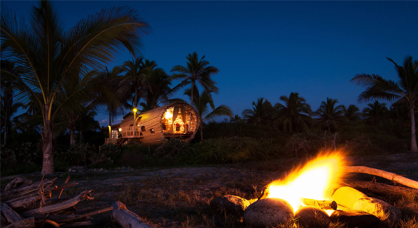 Playa Viva bungalow by night
