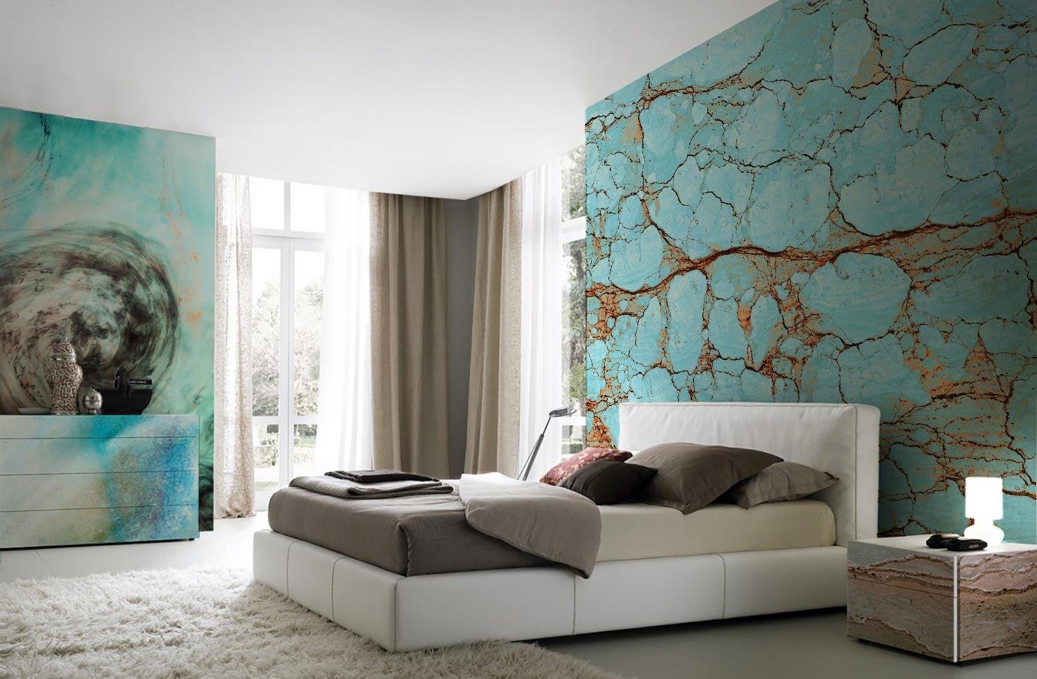 Modern bedroom with turquoise interior decor