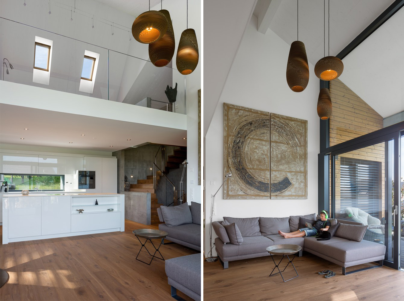 Living space with high ceiling