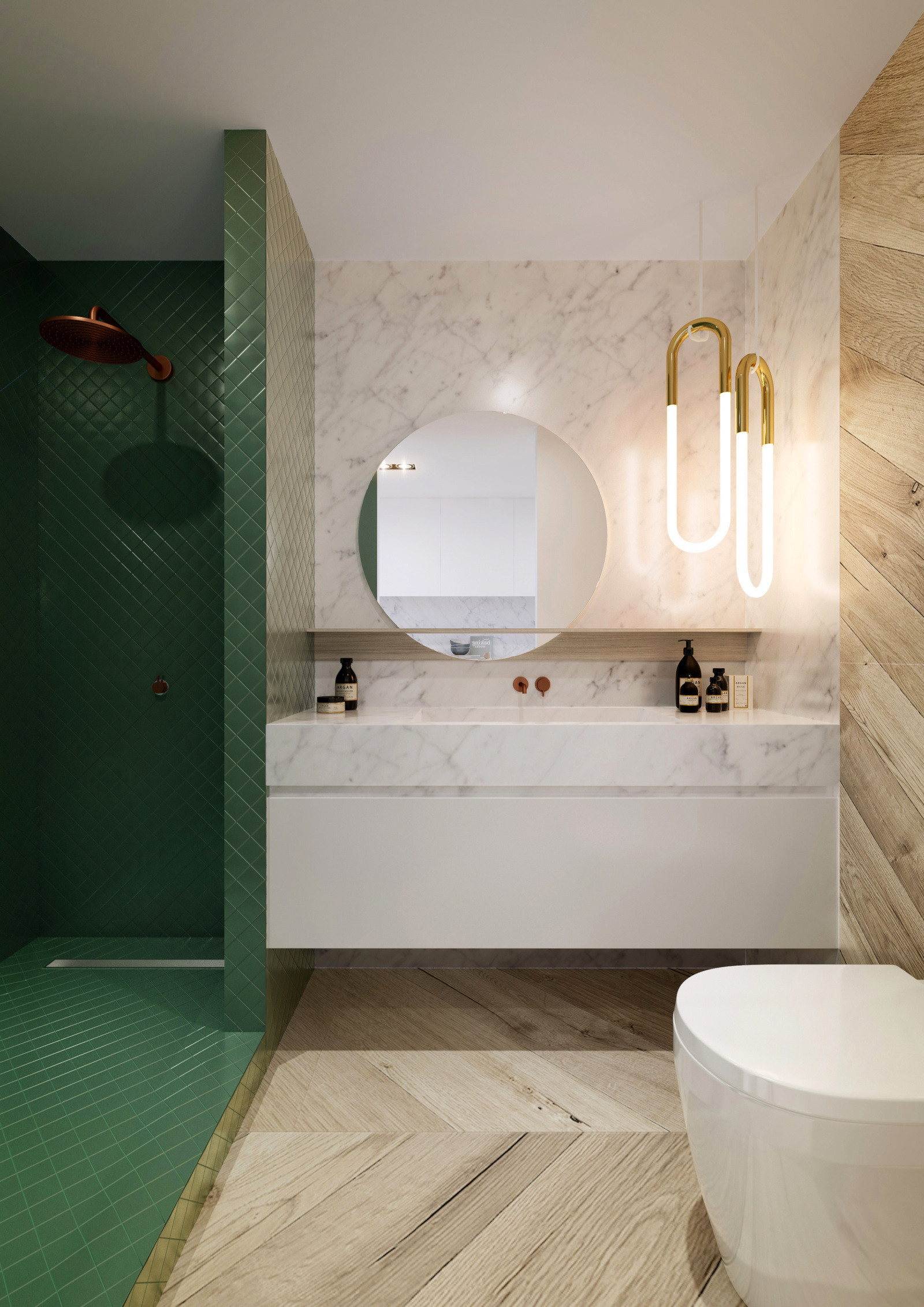 Green and cream bathroom