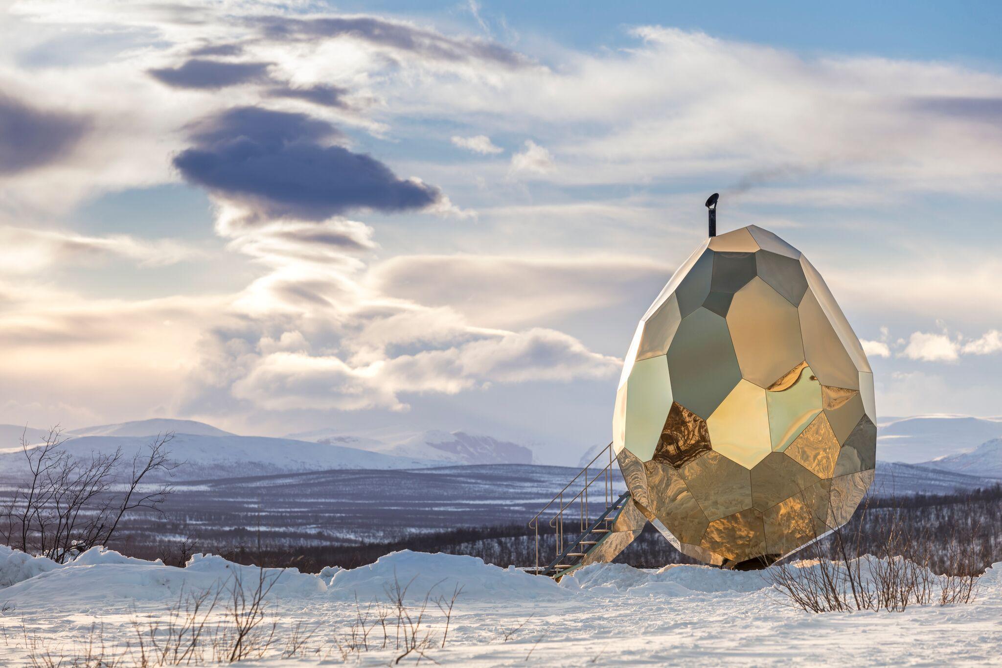 Solar egg sauna installation