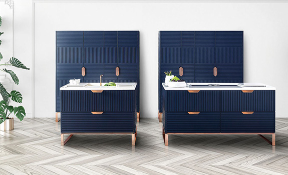 The Miuccia Kitchen: Midnight Blue, Rose Copper and Pirgon stone in a Perfect Combination
