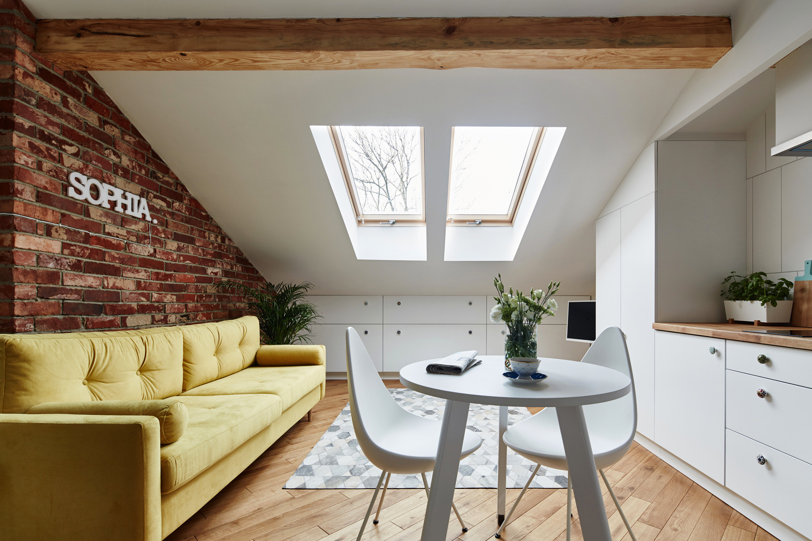 Attic Apartment With Brick Wall