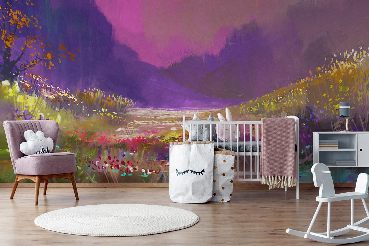 Purple wallpaper for nursery