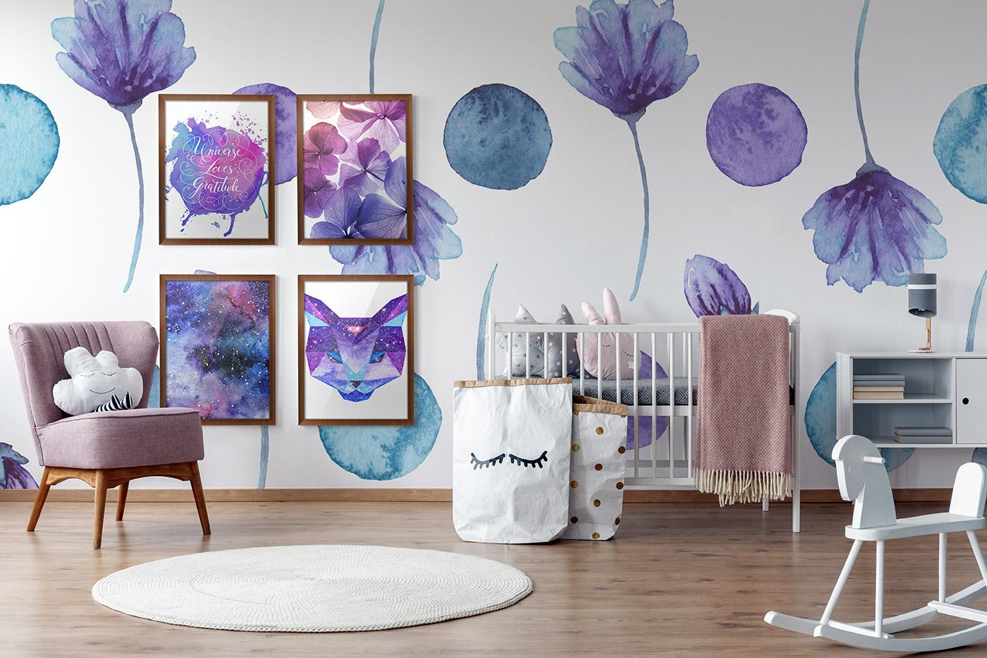 White and purple wallpaper
