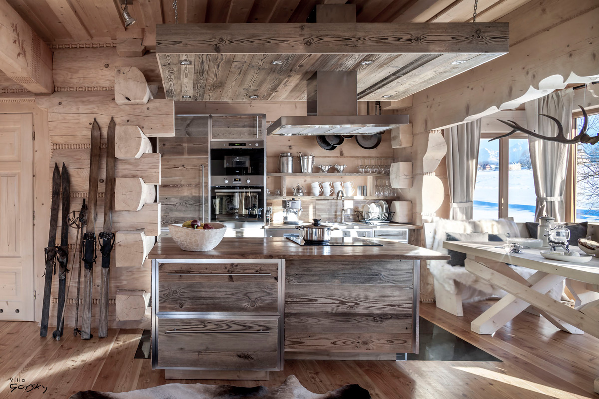 Kitchen in a winter chalet
