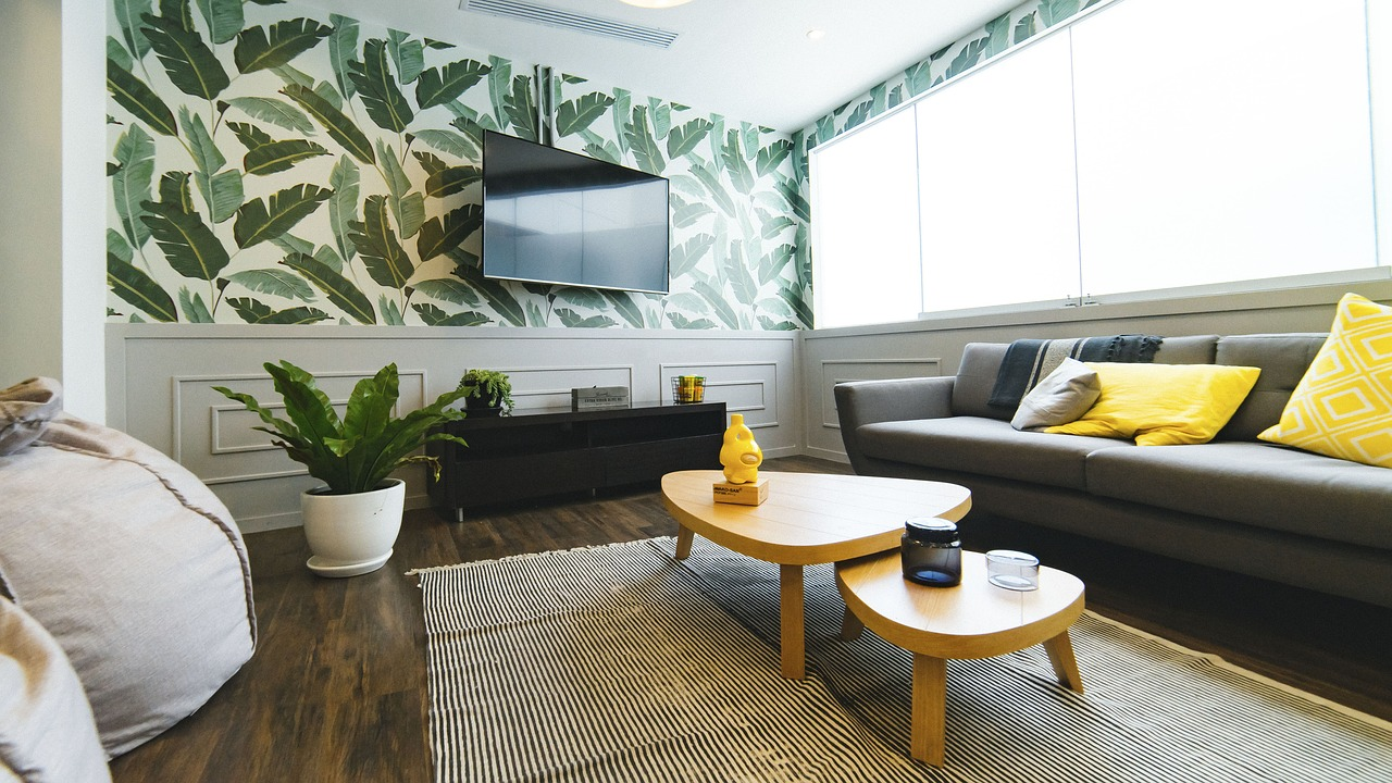 Tropical theme interior with leaves