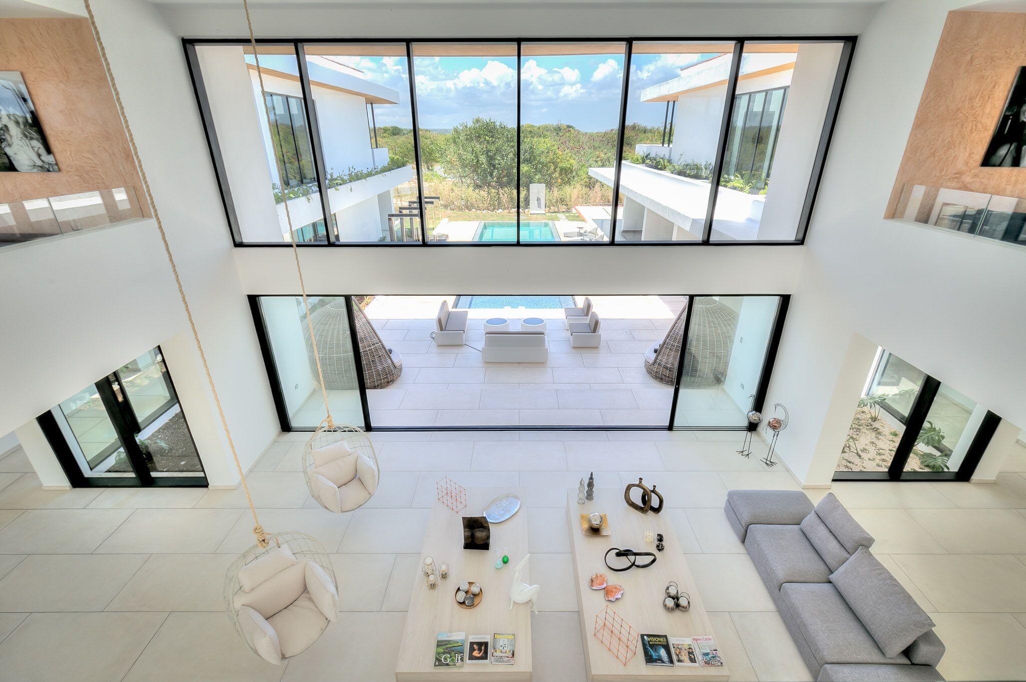 High ceiling foyer
