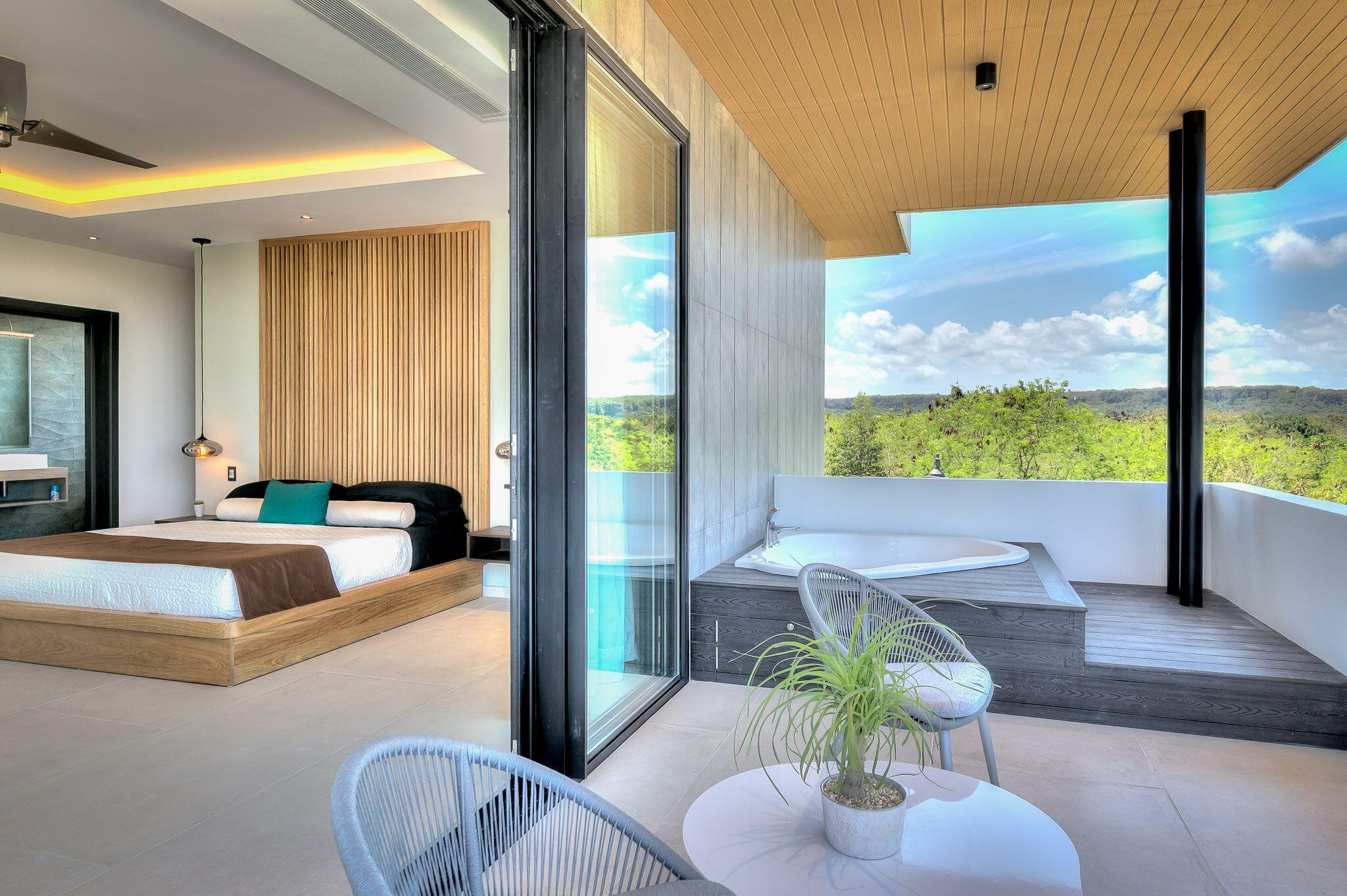 Balcony with a tub