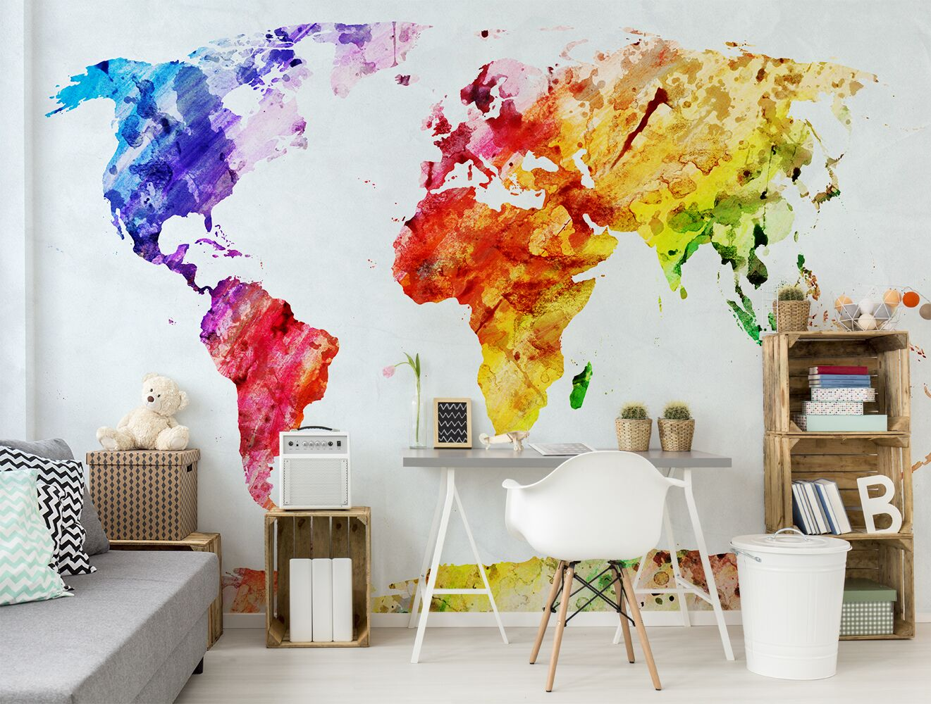 Colorful world map sticker