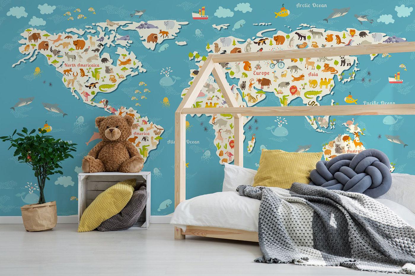 World map kids wall decor