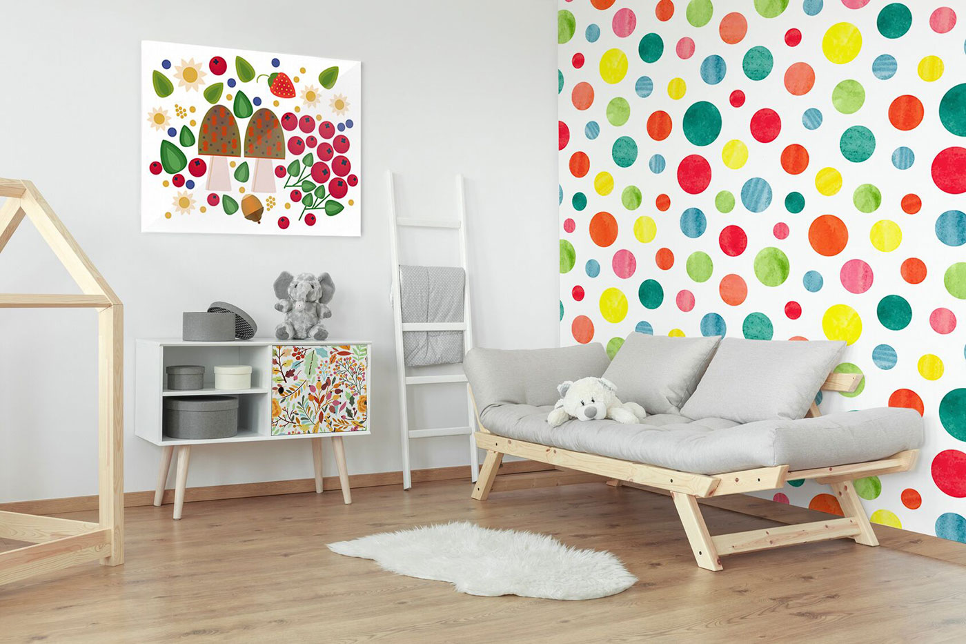 Colorful dots wall murals