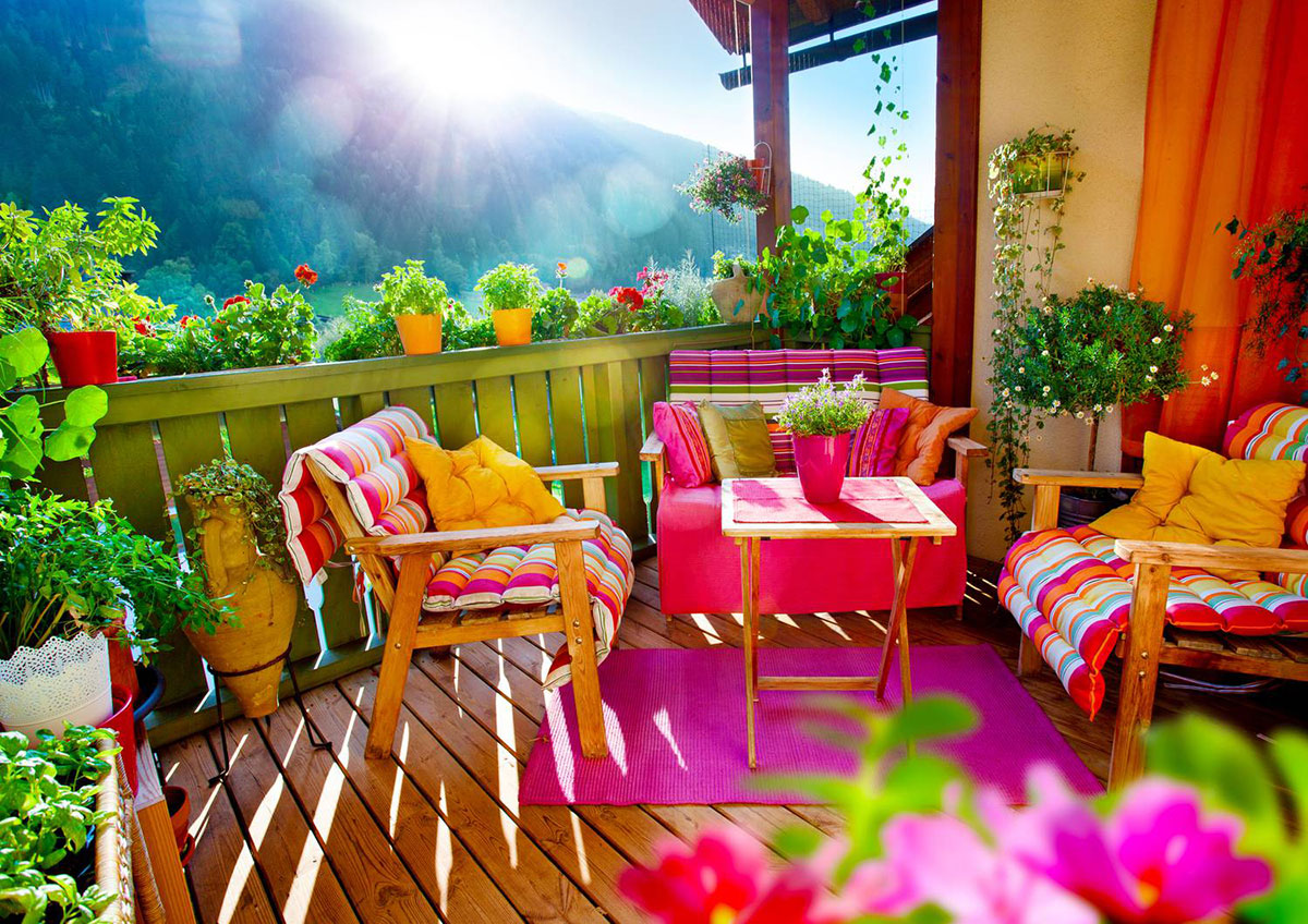 Colorful balcony