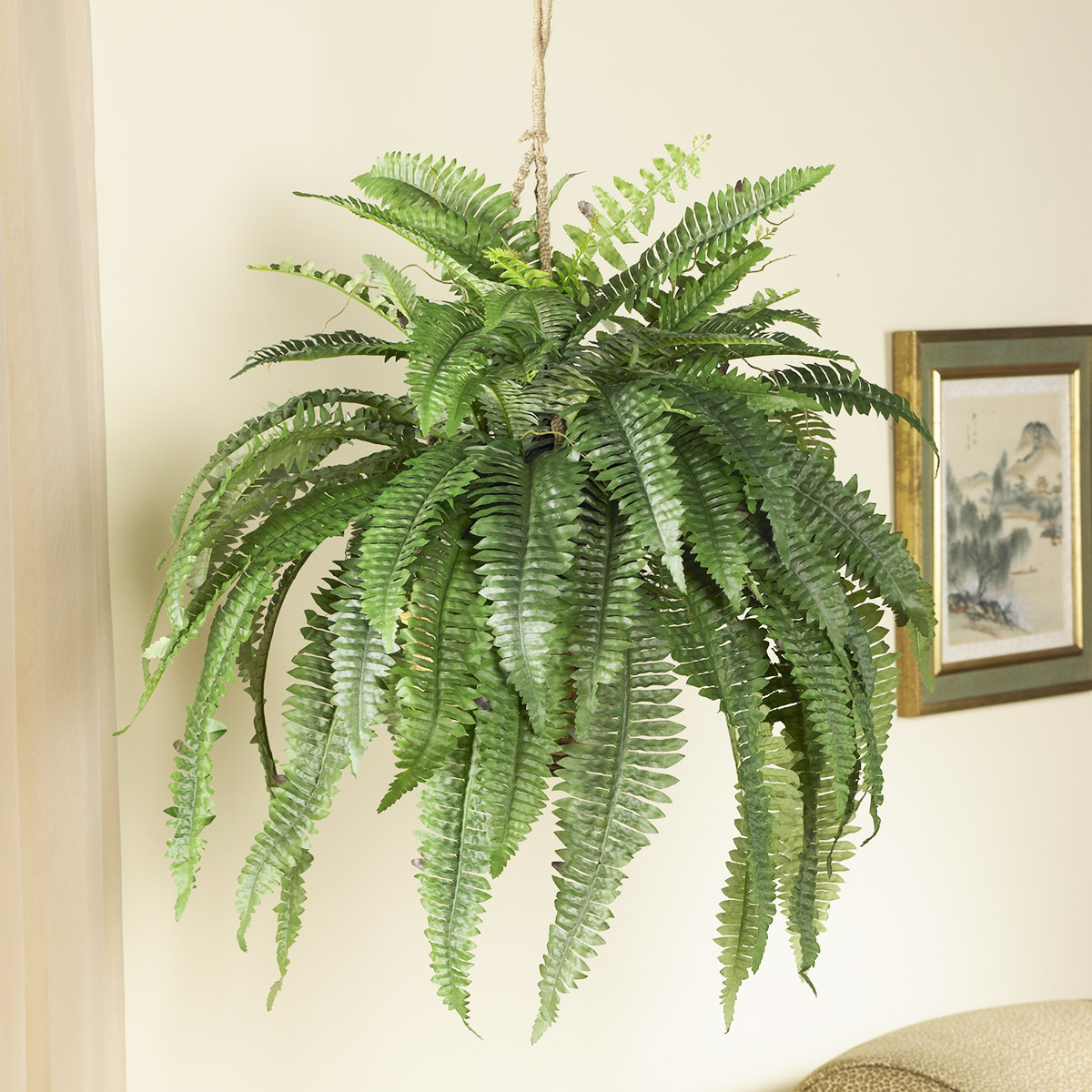 Hanging fake fern