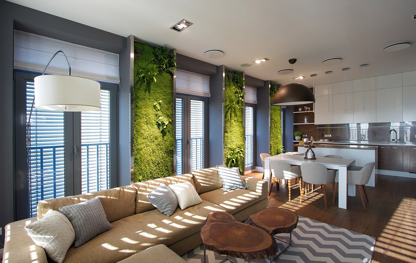 Living walls in an apartment