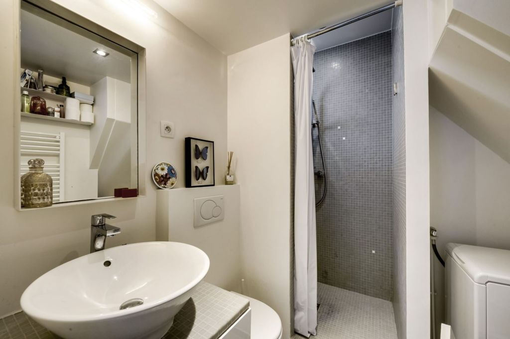 Small bathroom in a studio apartment