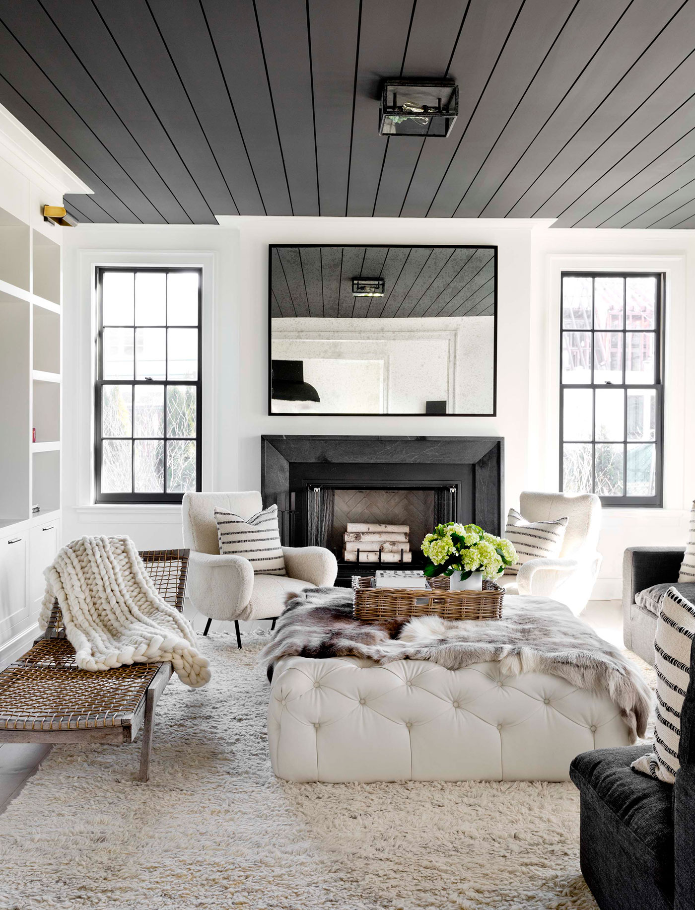 Painted ceiling in dark grey