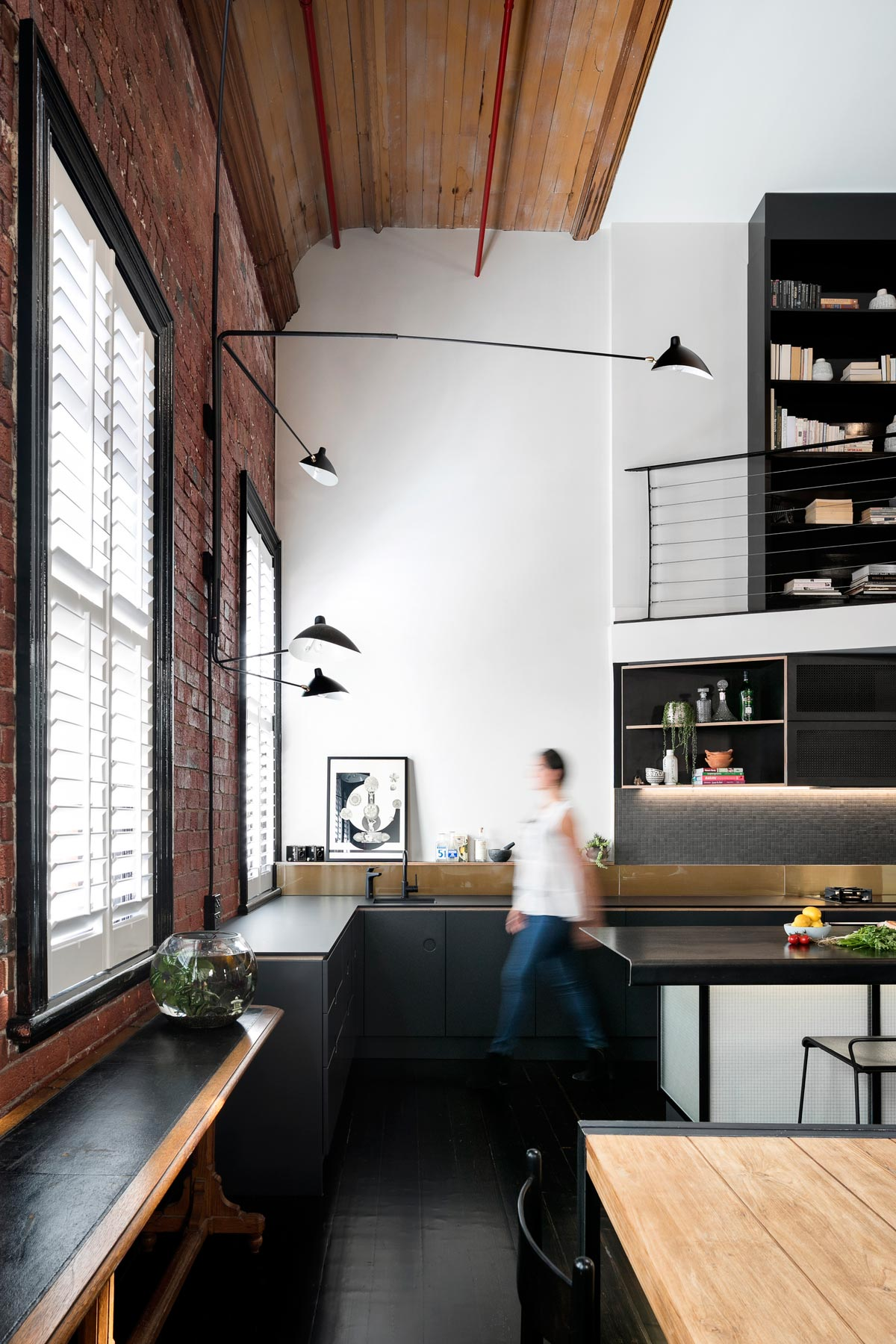 Kitchen in an industrial apartment