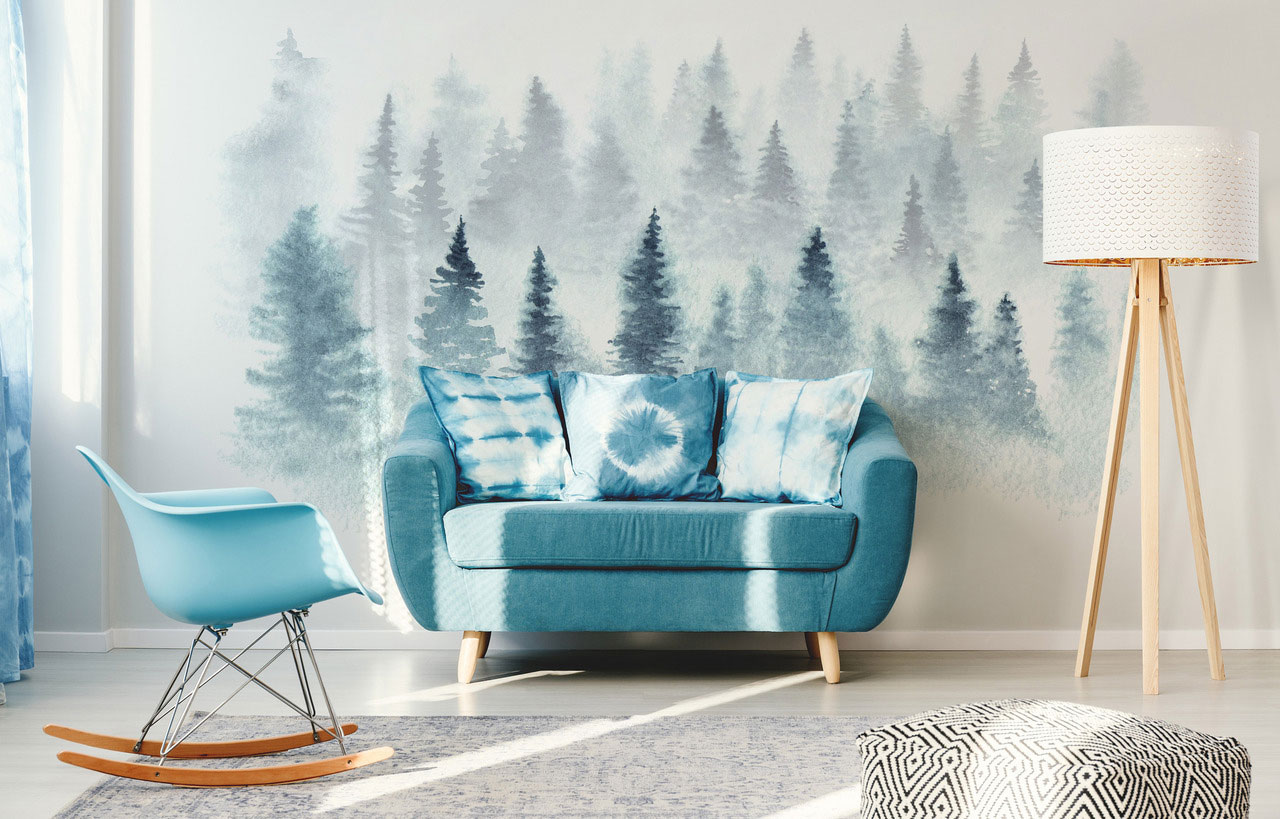 Blue forest wall decal