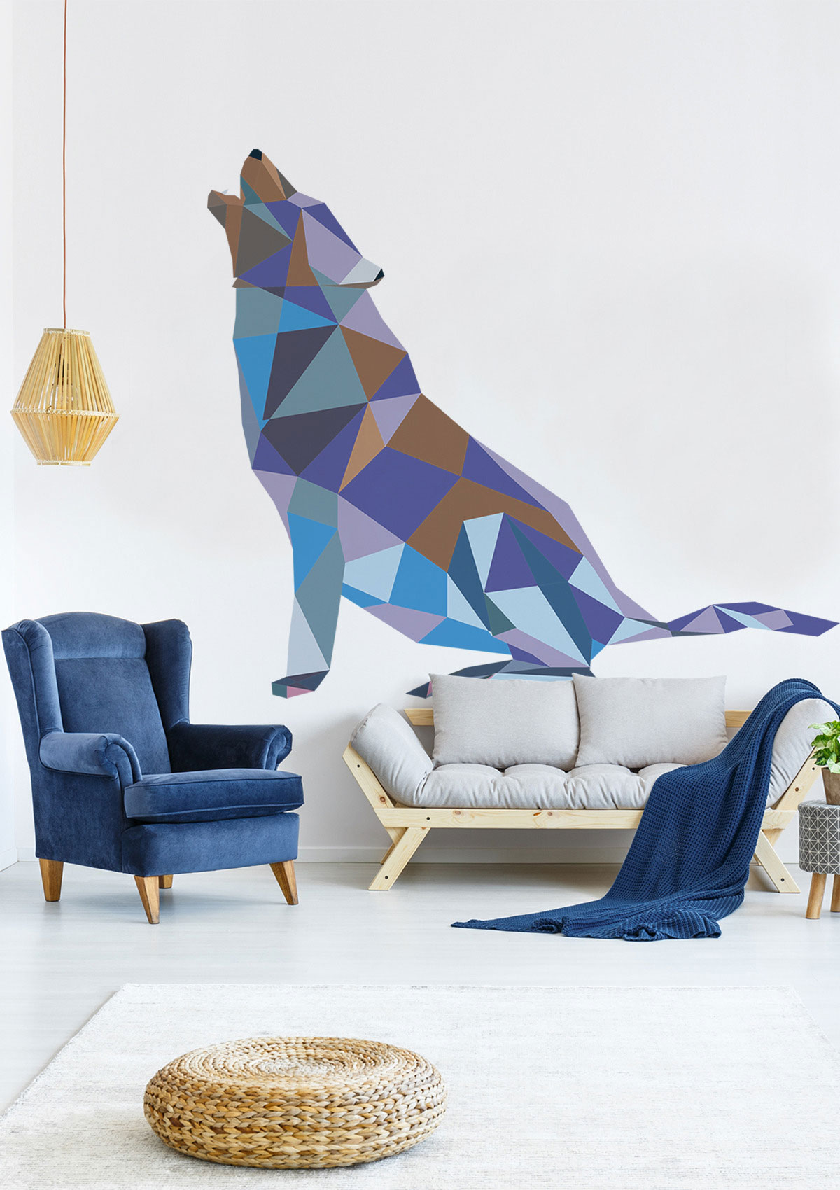 Geometrical wolf wall sticker