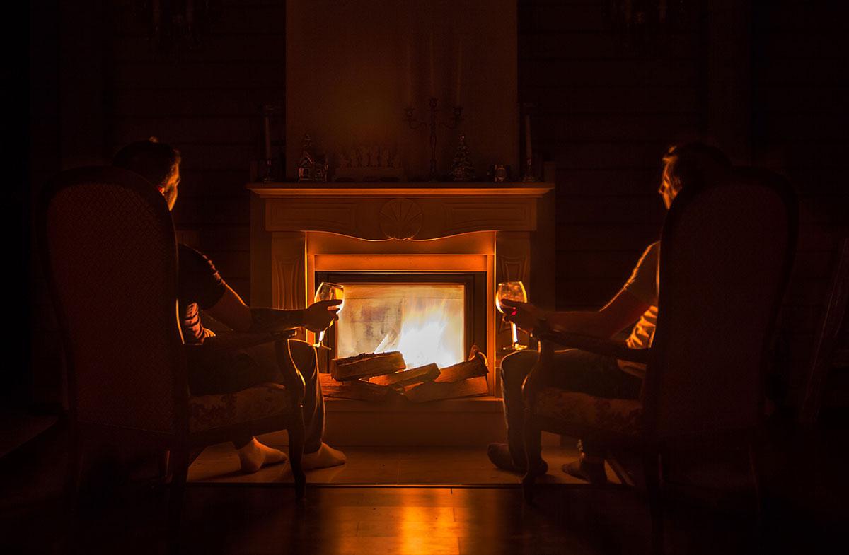 Enjoying the fireplace