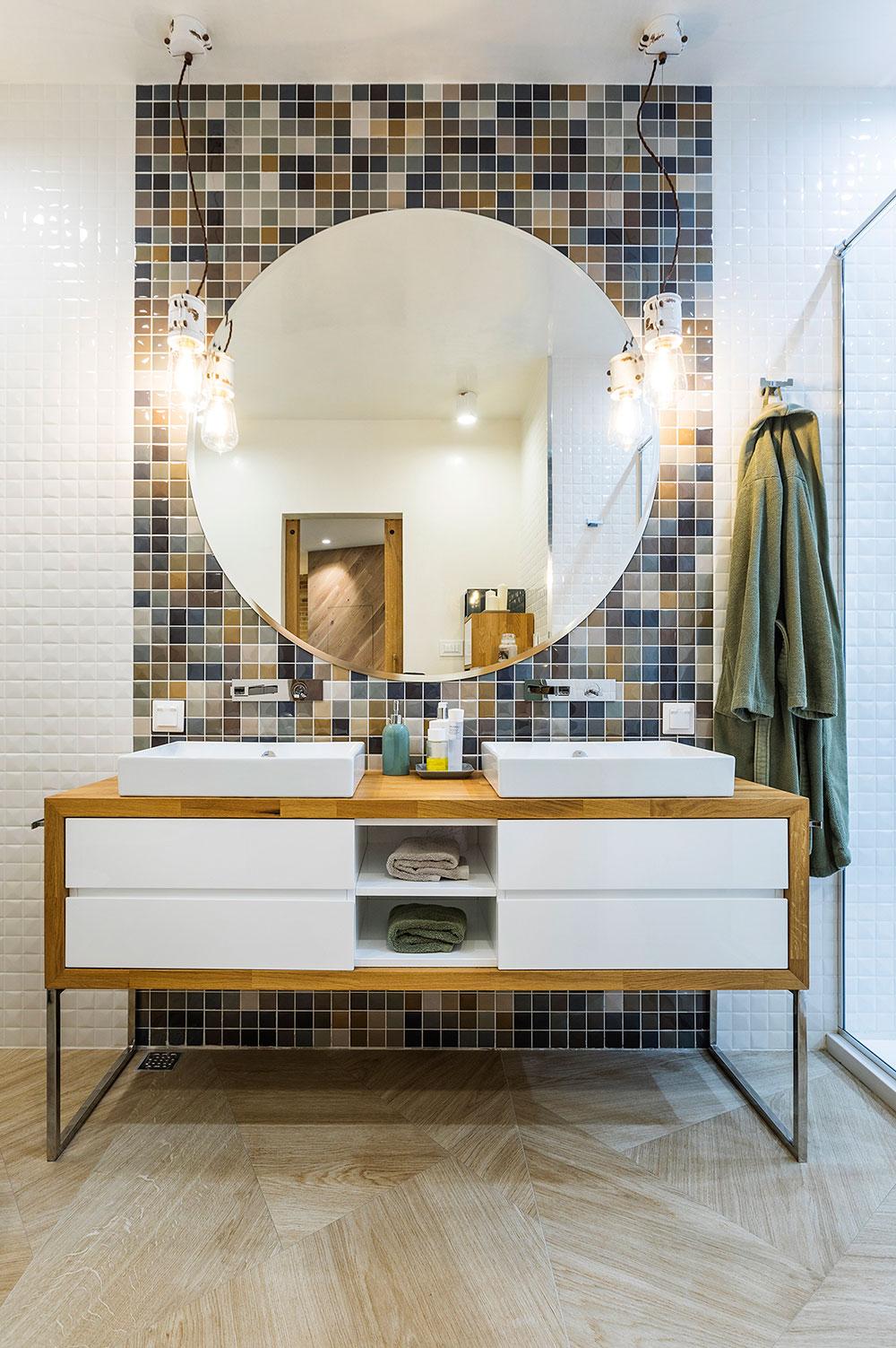 Bathroom vanity with big round mirror