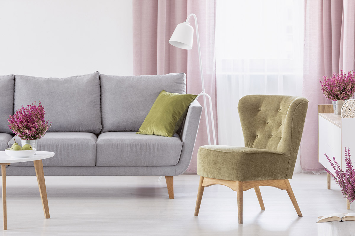 Muted colors in the living room