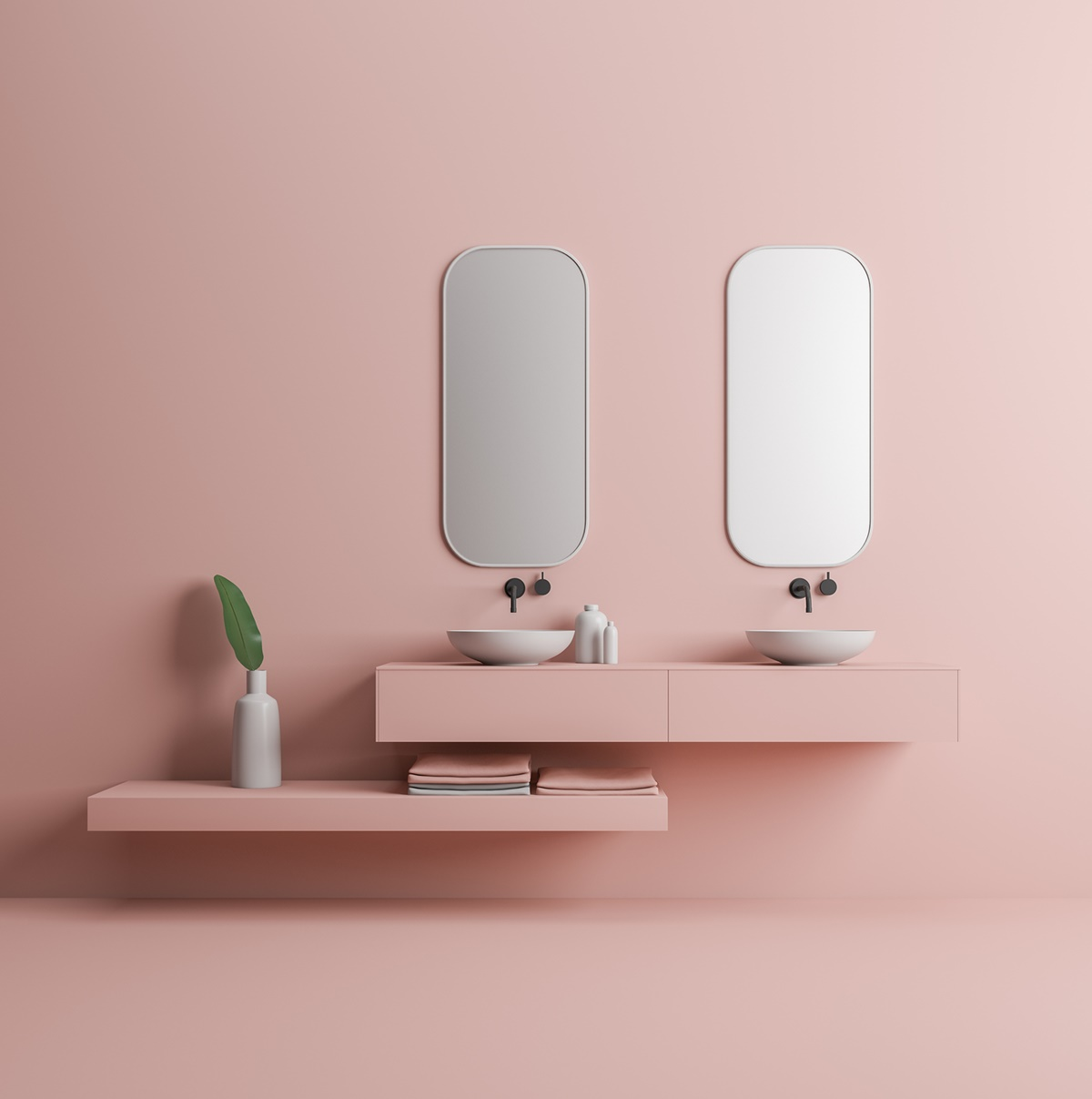 Minimalist pink bathroom