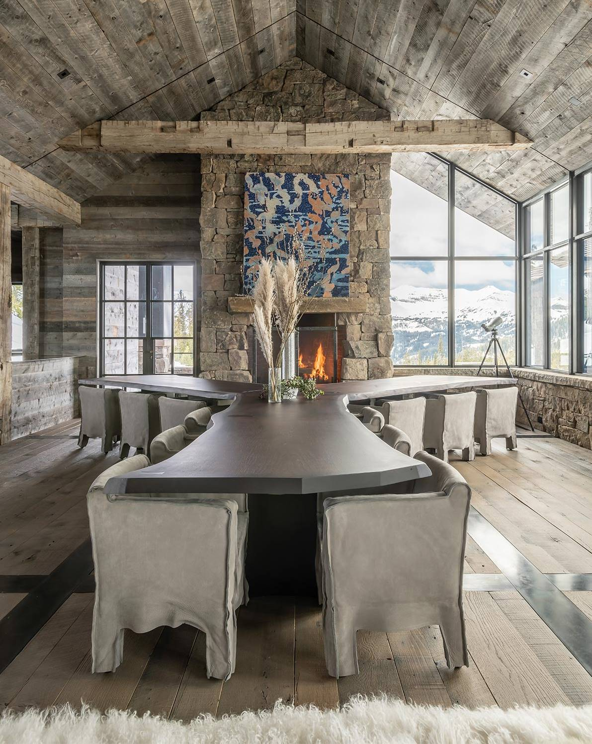 Amazing dining table in a luxurious chalet