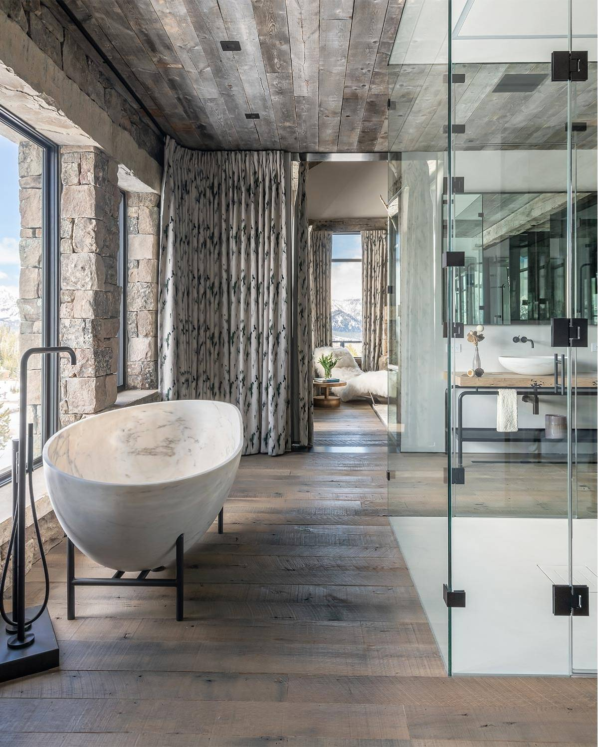 Bathroom with a marble bathtub