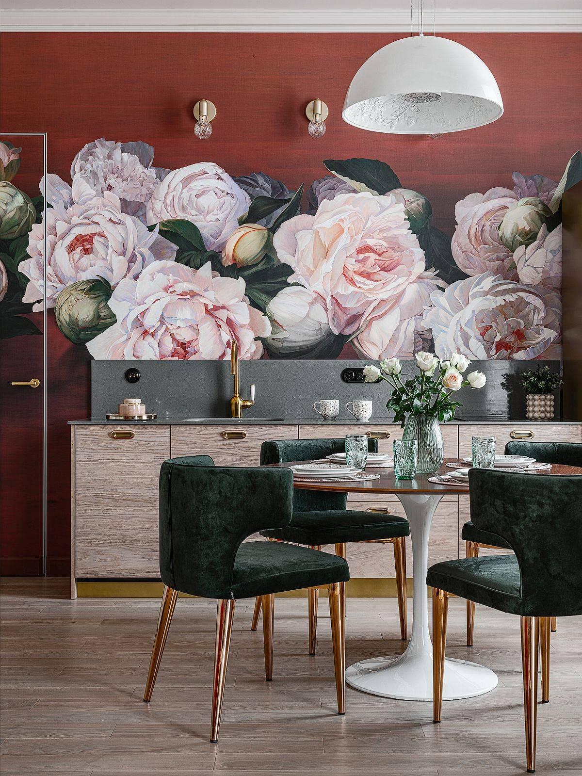 Floral wallpaper as a kitchen backsplash