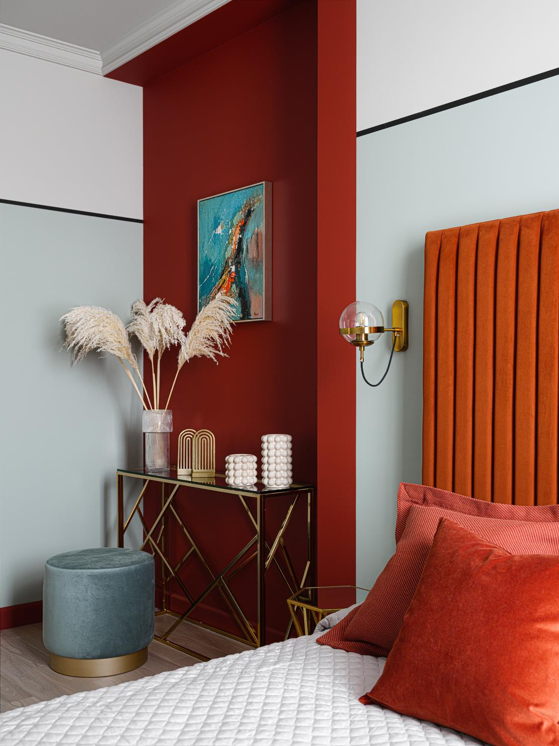 Bedroom with orange pops of color