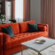 Modern Apartment with Vibrant Pops of Orange