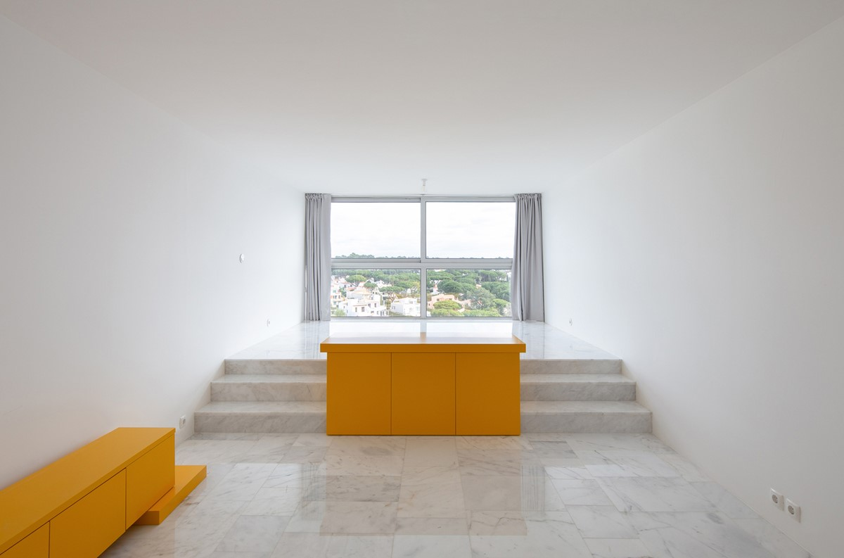 Minimal studio with a panoramic window