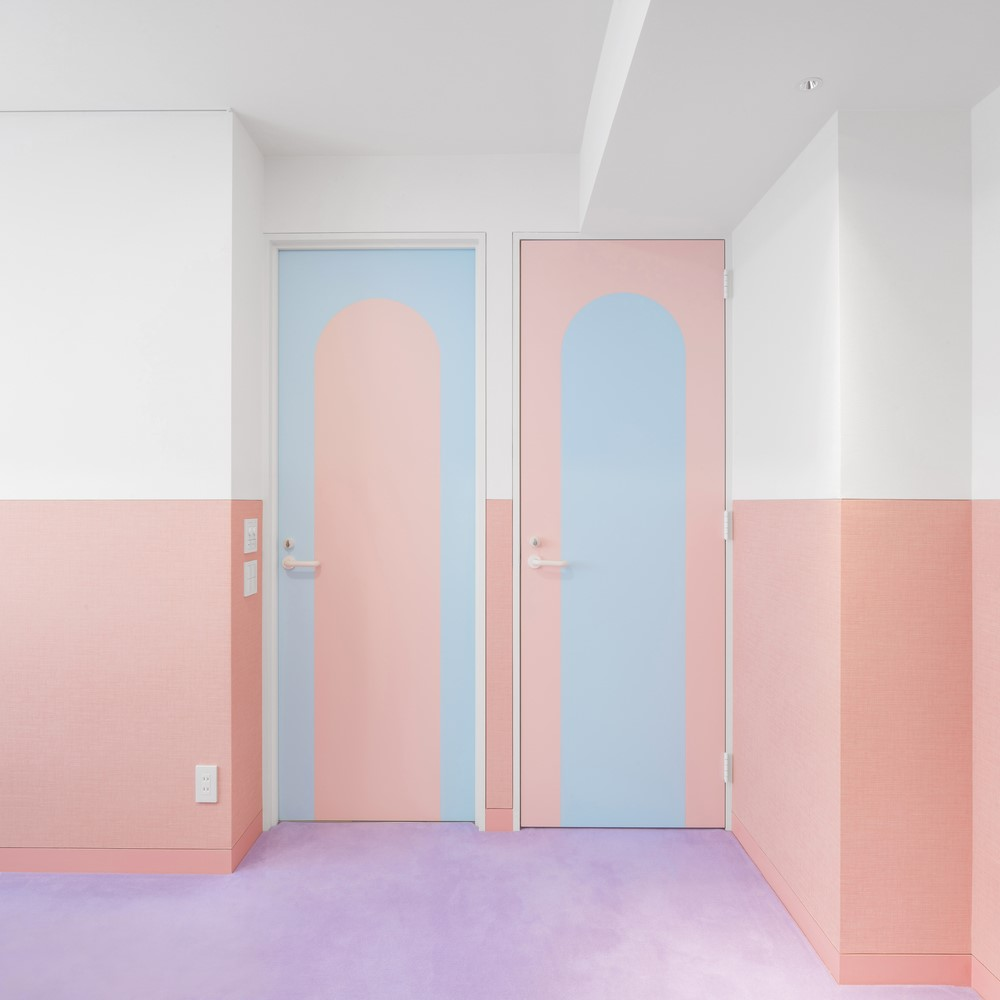 Pink and blue pastel doors
