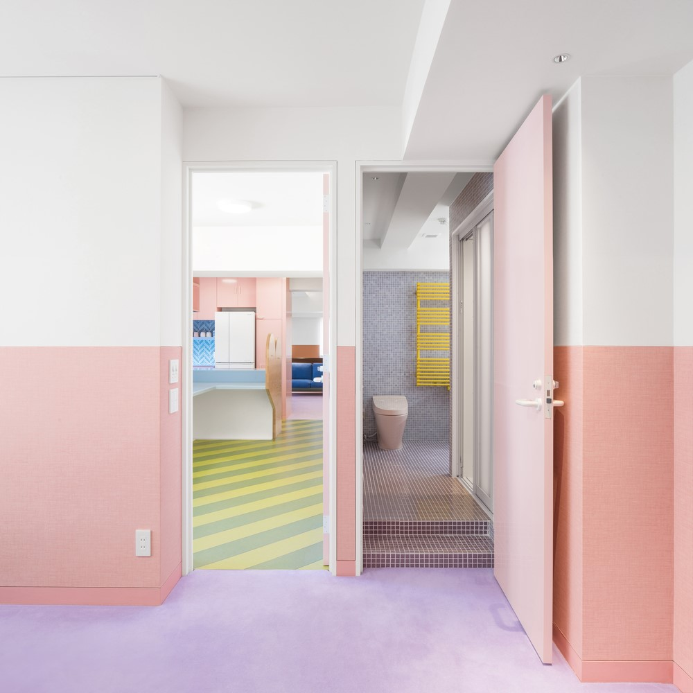 White and pink walls