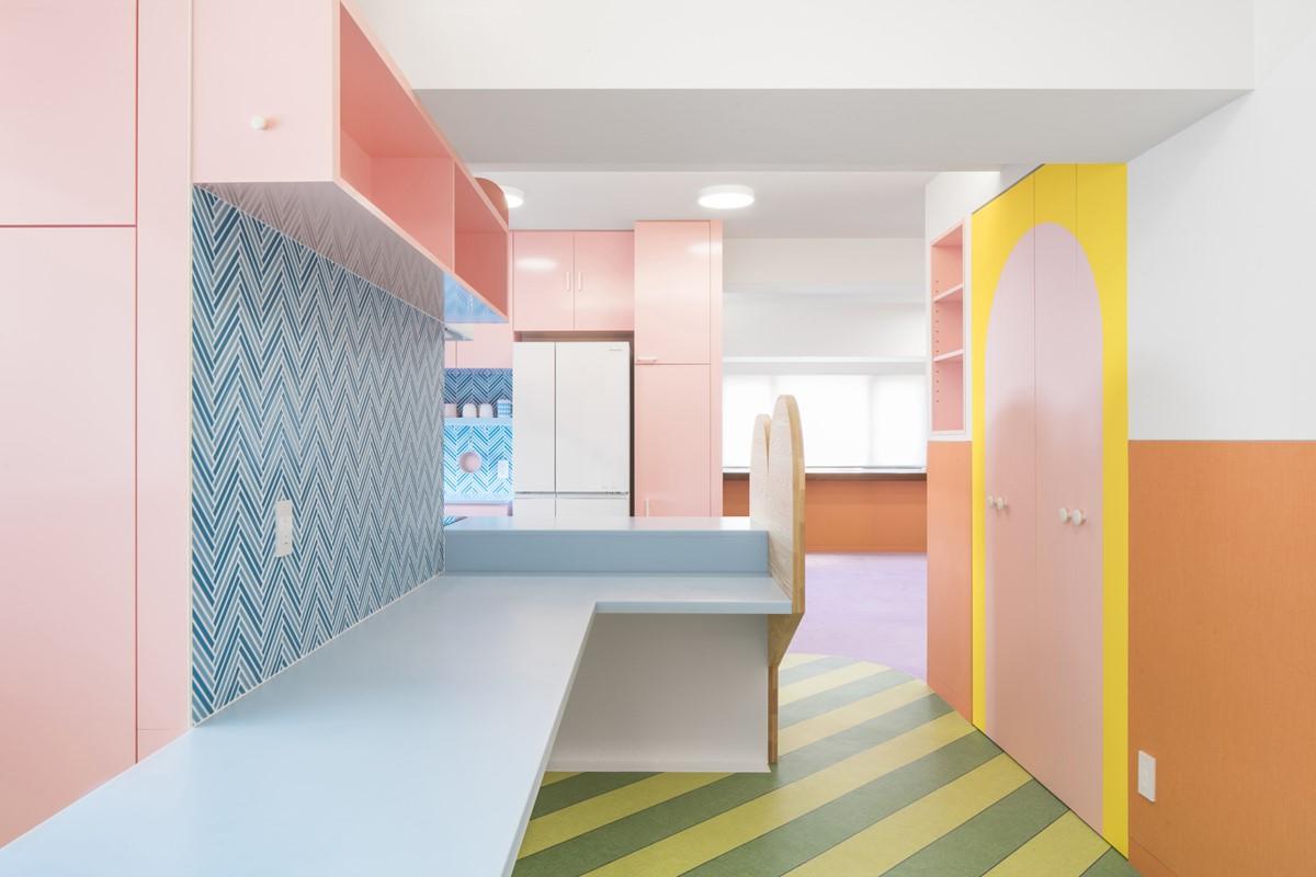 Pastel color kitchen
