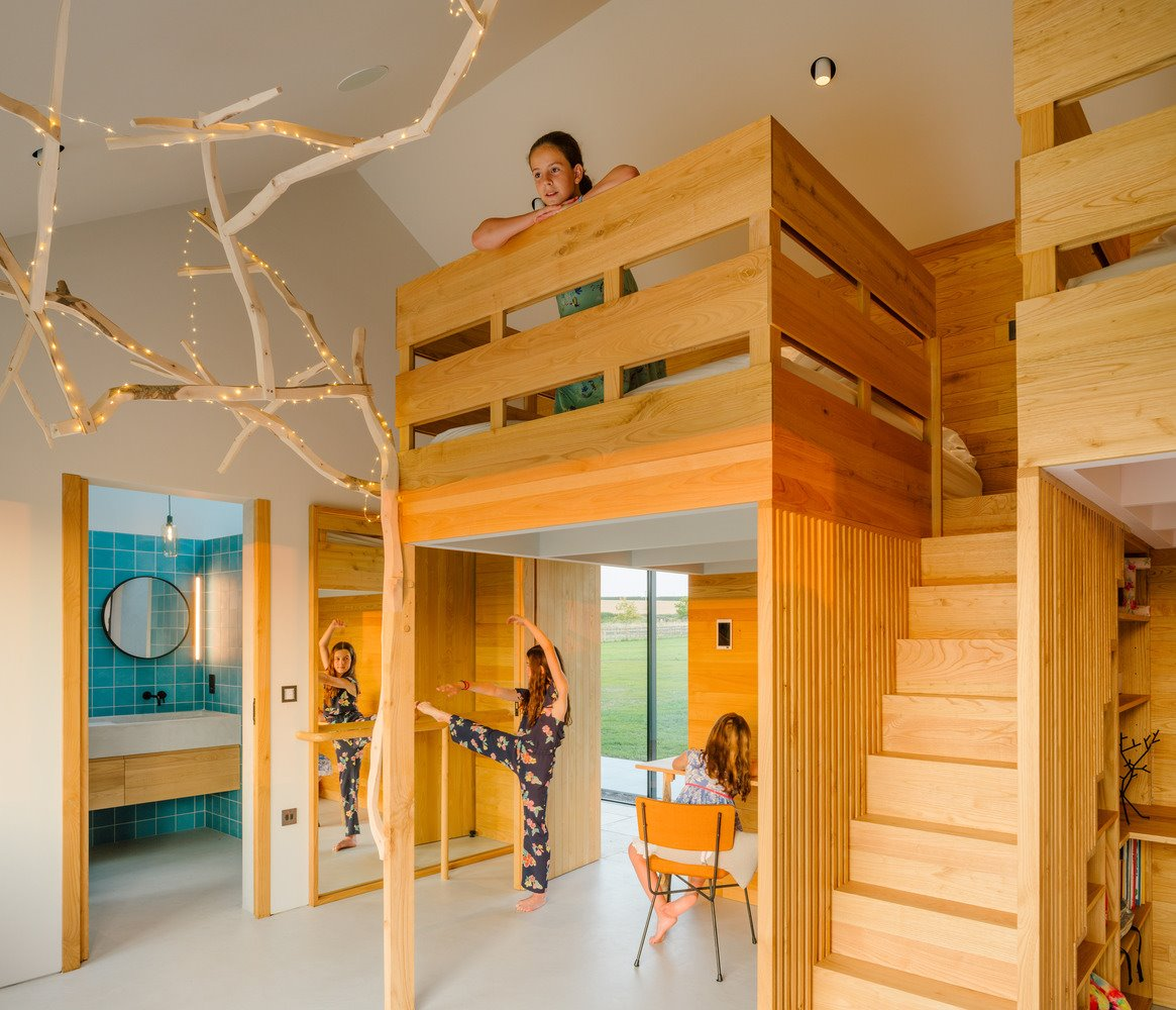 Children's room with a wooden interior