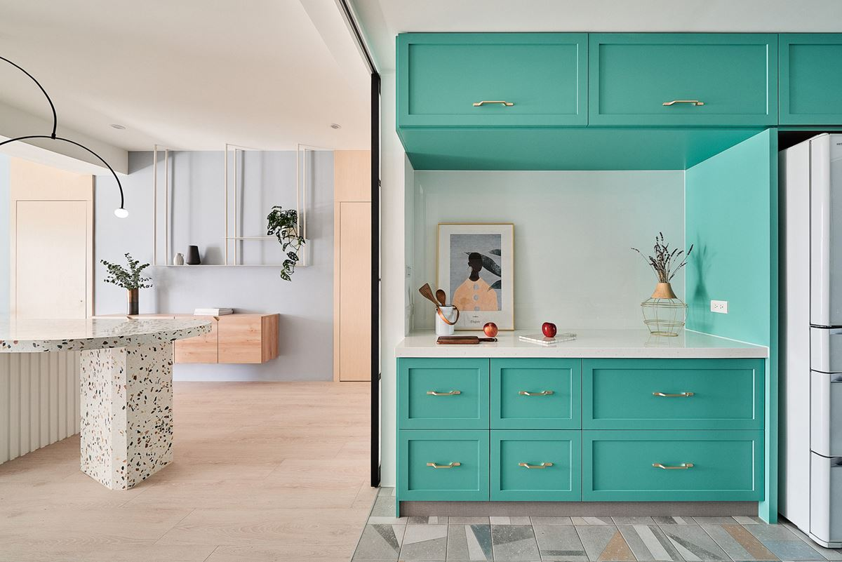 Modern kitchen in turquoise color