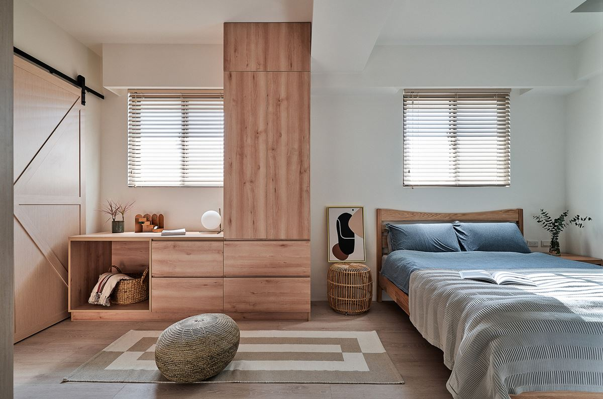 Modern bedroom with wooden furniture